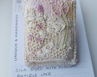 stitched brooch, eco stitch brooch, mini art brooch, embroidered brooch, stitched flowers, textile brooch