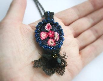 Midnight rosebuds, textile pendant, antique lace pendant, Victorian lace pendant, dark lace pendant
