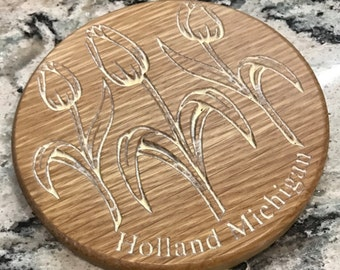 Handcrafted Holland Michigan Tulip Time Coaster