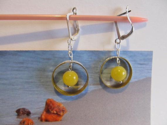 Baltic #Amber #metal #Earrings from 100% Natural amber 3.0 gr, #Silver 925 clasp yellow egg yolk butterscotch #round beads for #adult #Teens