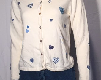 Vintage Valentines Day Blue Hearts on Cream UGLY CHRISTMAS SWEATEr PS Petite Small 90s Talbots