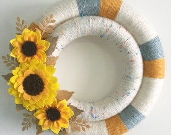 Felt flower wreath, Sunflower wreath, felt sunflowers, double yarn wreath, yarn wreath, wrapped wreath