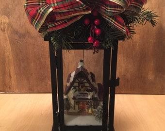 Christmas Lantern - Christmas Lantern Centerpiece- Christmas Lantern Decoration - Christmas Village - Flameless Candle Lantern