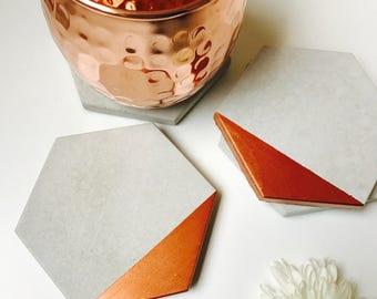Copper Edge Concrete Hexagon Coasters Industrial Geometric