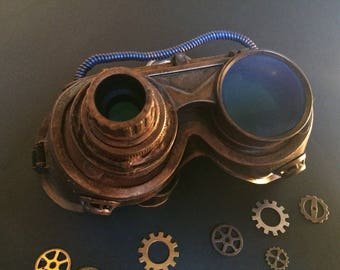 Glasses goggles Steampunk in bronze and blue