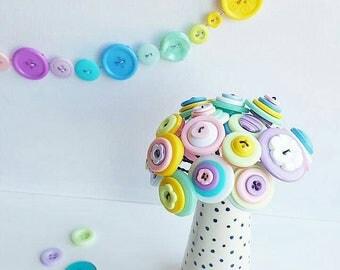 pastel button bouquet