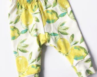 Lemon Leggings / Baby Girl Pants / Toddler / Floral Leggings / Macie and Me