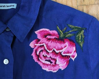 Blue Linen Button up with Hand Embroidered Pink Rose