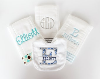 Set of 3 Monogrammed Burp Cloths and Personalized Bib