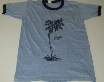 Vintage Hanes 50/50 Ft Lauderdale Florida super soft thin souvenir ringer tshirt size XL  runs small