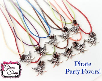 Pirate Party Favors!! Suede Necklaces: Set of 10!  Pirate Birthday, Pirate Skull and Treasure Chest Necklace Party Favors!