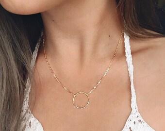 Circle Necklace / Open Circle Layering Necklace / Gold Necklace / Birthday / Bridesmaid Idea
