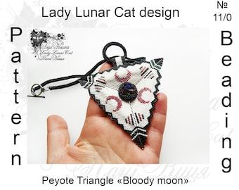Bloody moon, Triangle peyote pattern, Gothic triangle  pattern, Vampire pattern,  Beading pattern, Beaded pattern, Seed beads pattern