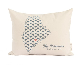 Family Name Housewarming Gift, Home State Pillow, Gift for her, Gift for Him, Family Gift, Wedding gift, Customized Pillow