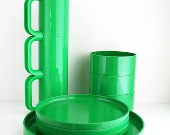 Heller Massimo Vignelli Green Melamine 11pc Set Mid Century