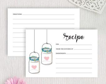 Recipe cards PRINTED | Mason jar recipe cards for bridal shower | 4X6 recipe cards | Housewarming gift | Bridal shower gift