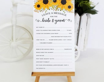 Wed-libs advice cards PRINTED | Wedding madlibs with sunflower | Advice for the bride and groom | Sunflower advice cards | Pack of 50