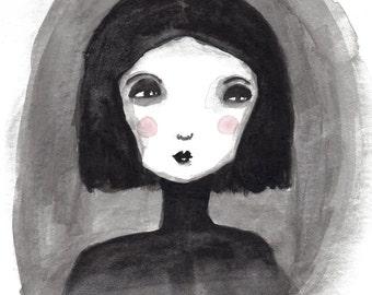A5 Girl Art Print, Black and White Art, Portrait, Dark Art Illustration, Wall Art, Illustration, Painting, Outsider Art, Weird, Quirky Art
