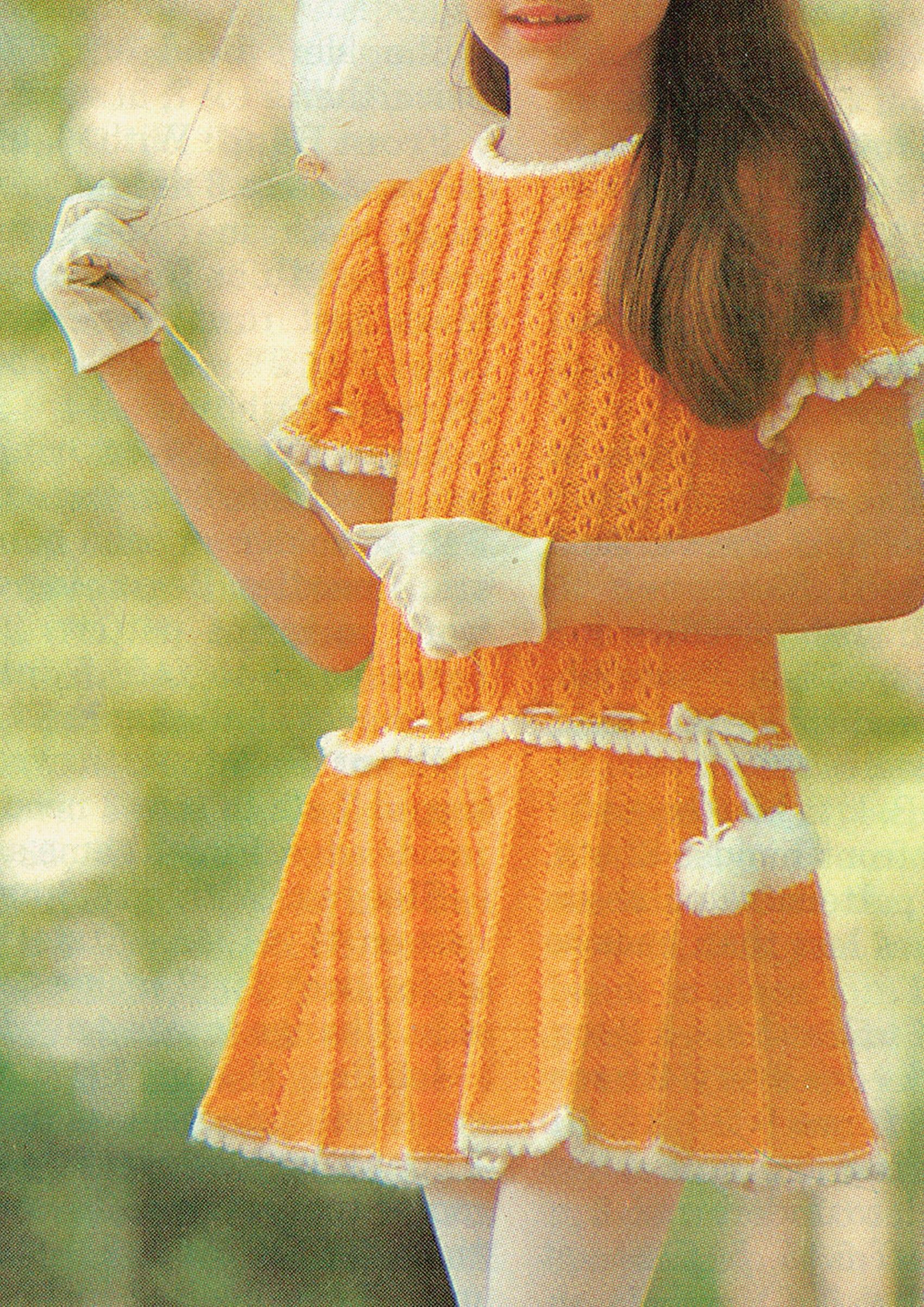 PDF Vintage Girl Dress Knitting Pattern, YELLOW Pleated ...