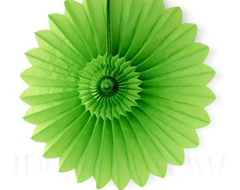 Apple Green Tissue Paper Fans - Rosettes - Pinwheels - Wedding Party Decorations - Backdrop Decorations