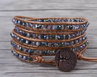 Green and Red Crystal bracelet AB crystal bead bracelet Boho bead wrap bracelet Chic leather wrap bracelet 5 wraps bracelet Jewelry SL-0499