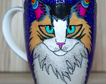 Cat portrait coffee mug Fluffy cat coffee mugs Longhaired cat coffee cups Handpainted cat Mug with cat art Cat lover gift Mugs with cats