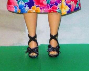 Cissette BLACK BOWS for Cissette, Tiny Kitty, Little Miss Revlon 10 inch, high heel doll shoes, Madame Alexander doll shoes