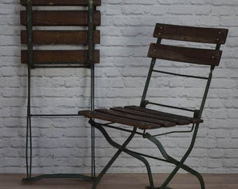 Vintage Industrial Style Green Folding Garden Cafe Bar Chairs (50 AVAILABLE)