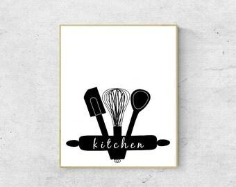 Kitchen Art Print   Kitchen Decor, Typography, Minimalist Art (INSTANT DOWNLOAD) *Frame not included*