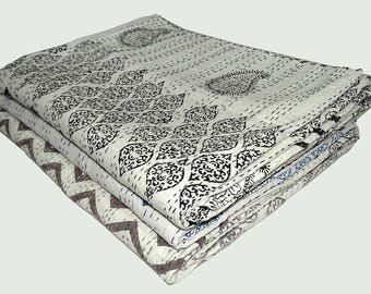 5 Piece Wholesale Lot Of Kantha Quilt Queen Size Paisley Bedsheet Indian Cotton Bedcover Assorted Color Handmade Kantha Bedspread