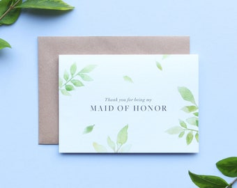 Thank you Maid of Honor Card/Botanical Maid of Honor Card/Maid of Honor/Floral Maid of Honor Card/Watercolour Maid of Honor Card