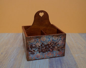 Wooden crate wood box wooden box wooden decoupage box home decoration storage box decorative box decoupaged box romantic box royal brown