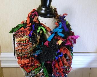 Recycled Silk Sari Material and Banana Fiber from India Infinity Scarf