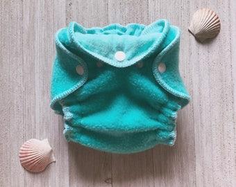 Teal Fleece Hybrid Fitted Newborn Cloth Diaper