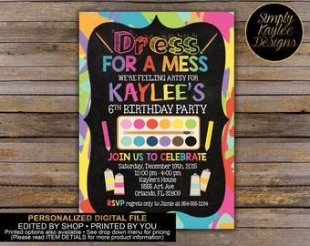 Art Party Invitation - Paint Party Invitation