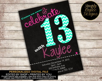 13th Birthday Party Invitation - Thriteenth Birthday party Invitation - Any age birthday Invitation