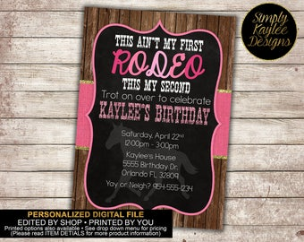 This aint my first rodeo Birthday Party Invitation - Horse Birthday Party Invitation for girls