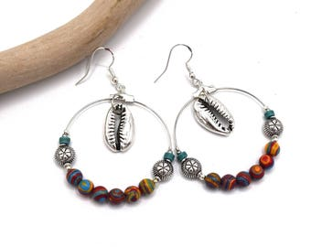 Hoops cowries silver malachite multicolor 40mm, beach, jewels were