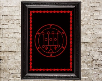 Demon, Furcas, Grimoire, Dark, Gothic, Esoteric, Witchcraft, print, Demonology, Medieval, Occult, Magic, Pentacle, Ritual, Canvas, 17