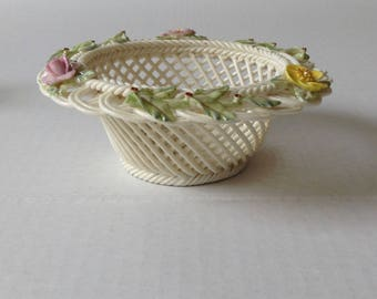 Belleek Ireland Open Weave Basket
