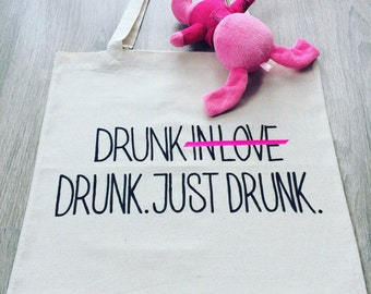 FREE SHIPPING / Drunk In Love Canvas Tote Bag / Funny Tote Bag / Funny Gift / Shopping Bag by Fabra Moda Studio / A911