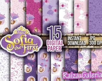 AWESOME Disney Sofia the first Digital Paper. Instant Download - Scrapbooking - Disney Junior Sofia the first Printable Paper Craft!