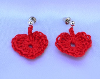 Crocheted Valentine Heart Earrings
