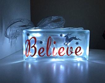 Believe light up glass block,