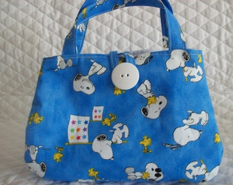 """Snoopy little Girls purse,7"""" X 5"""" x 2"""", Blue with  Snoopy and Woodstock  print"""