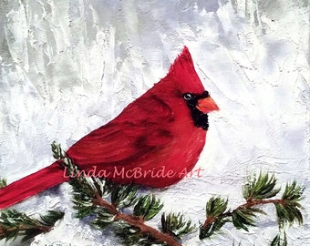 Cardinal in Snow 3x3 gift enclosure card from my original oil painting with envelope.