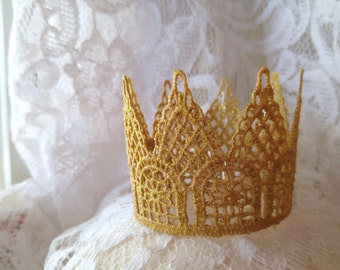 Gold Crown- Little Girl Tiara- Baby Gold Crown- Party Hat- Lace Crown Headband- Cake Topper- Photo prop- Princess crown-Mini Crown