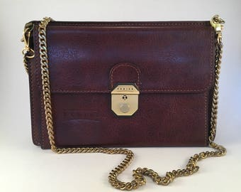 Vintage 1970's French TEXIER Chestnut Leather Locking Purse with Chain Strap Organizer