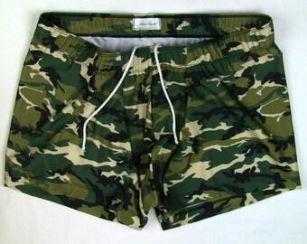 Camouflage Print Square Cut Swim Trunks