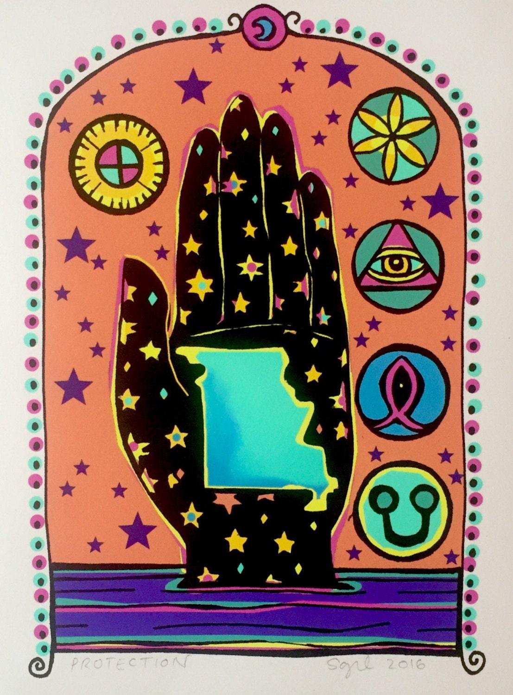 Symbolic Missouri River Art / Protection Archival Print / Yoni, Daisy Wheel, Medicine Wheel, + Purity Alchemy Symbol / Mystical Folk Art